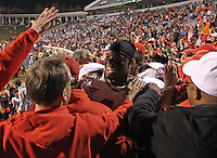 Nov 13, 2010; Charlottesville, VA, USA;  Maryland Terrapins linebacker Adrian Moten (1) celebrates with the fans after beating the Virginia Cavaliers 42-23 at Scott Stadium.  Mandatory Credit: Andrew Shurtleff