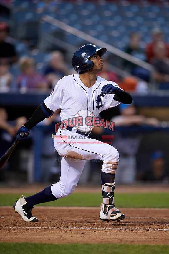 Connecticut Tigers center fielder Isrrael De La Cruz (1) follows through on a swing during a game against the Hudson Valley Renegades on August 20, 2018 at Dodd Stadium in Norwich, Connecticut.  Hudson Valley defeated Connecticut 3-1.  (Mike Janes/Four Seam Images)