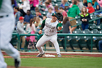 Fort Wayne TinCaps first baseman G.K. Young (15) waits to receive a throw during a game against the Wisconsin Timber Rattlers on May 10, 2017 at Parkview Field in Fort Wayne, Indiana.  Fort Wayne defeated Wisconsin 3-2.  (Mike Janes/Four Seam Images)