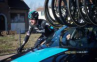 Sir Bradley Wiggins (GBR/Sky) getting some assistance at the team car<br /> <br /> Omloop Het Nieuwsblad 2015