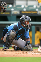 FCL Rays catcher Mario Fernandez (59) during a game against the FCL Pirates Gold on July 26, 2021 at LECOM Park in Bradenton, Florida. (Mike Janes/Four Seam Images)