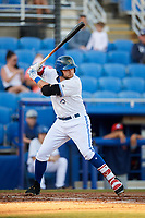 Dunedin Blue Jays first baseman Bradley Jones (20) at bat during a game against the Fort Myers Miracle on April 17, 2018 at Dunedin Stadium in Dunedin, Florida.  Dunedin defeated Fort Myers 5-2.  (Mike Janes/Four Seam Images)