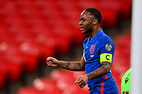 25th March 2021; Wembley Stadium, London, England;  Captain Raheem Sterling England celebrates scoring his goal for 3-0 in minute 30 during the World Cup 2022 Qualification match between England and San Marino at Wembley Stadium in London, England.