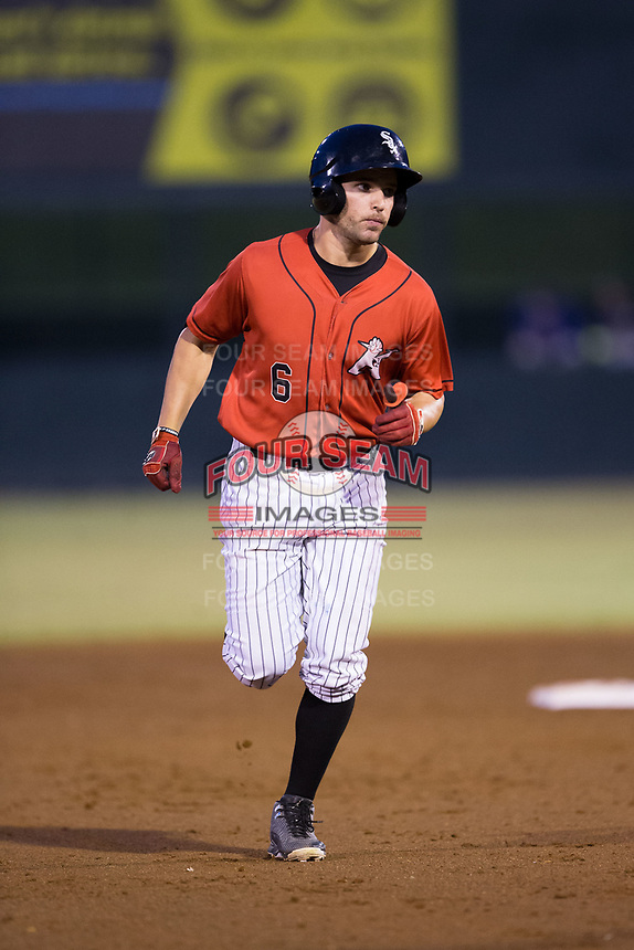 Luis Gonzalez (6) of the Kannapolis Intimidators rounds the bases after hitting a home run against the Columbia Fireflies at Kannapolis Intimidators Stadium on July 23, 2017 in Kannapolis, North Carolina.  The Fireflies defeated the Intimidators 3-1.  (Brian Westerholt/Four Seam Images)