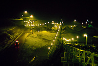 Night view of conveyor system at gold mine. Eureka, Nevada