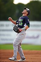 Vermont Lake Monsters first baseman Chris Iriart (18) calls for a popup during the first game of a doubleheader against the Batavia Muckdogs August 11, 2015 at Dwyer Stadium in Batavia, New York.  Batavia defeated Vermont 6-0.  (Mike Janes/Four Seam Images)