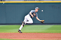 Tennessee Volunteers shortstop Andre Lipcius (13) reacts to the ball during a game against the University of North Carolina Greensboro (UNCG) Spartans at Lindsey Nelson Stadium on February 24, 2018 in Knoxville, Tennessee. The Volunteers defeated Spartans 11-4. (Tony Farlow/Four Seam Images)