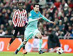 Athletic de Bilbao's Inaki Williams (l) and FC Barcelona's Sergio Busquets during Spanish Kings Cup match. January 05,2017. (ALTERPHOTOS/Acero)