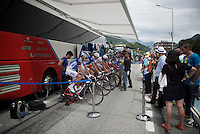 pre-mountain stage warming up has become the norm in recent years, like here for Team FDJ<br /> <br /> Stage 19:  Albertville › Saint-Gervais /Mont Blanc (146km)<br /> 103rd Tour de France 2016
