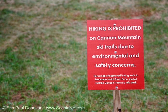"""""""Hiking is Prohibited"""" on ski trails at Cannon Mountain in the Franconia Notch State Park of the New Hampshire White Mountains."""