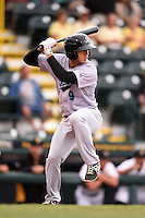 Jupiter Hammerheads catcher Austin Barnes (9) at bat during a game against the Bradenton Marauders on April 17, 2014 at McKechnie Field in Bradenton, Florida.  Bradenton defeated Jupiter 2-1.  (Mike Janes/Four Seam Images)