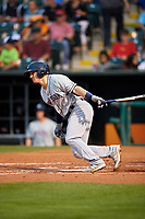 Colorado Springs Sky Sox second baseman Nate Orf (6) follows through on a swing during a game against the Oklahoma City Dodgers on June 2, 2017 at Chickasaw Bricktown Ballpark in Oklahoma City, Oklahoma.  Colorado Springs defeated Oklahoma City 1-0 in ten innings.  (Mike Janes/Four Seam Images)