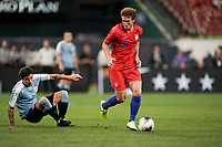St. Louis, MO - SEPTEMBER 10: Josh Sargent #19 of the United States moves with the ball during their game versus Uruguay at Busch Stadium, on September 10, 2019 in St. Louis, MO.