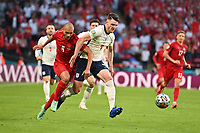 7th July 2021, Wembley Stadium, London, England; 2020 European Football Championships (delayed) semi-final, England versus Denmark;  Martin BRAITHWAITE DEN takes on Declan RICE ENG