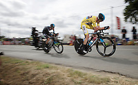 yellow jersey Chris Froome (GBR/SKY) tucked in for speed<br /> <br /> stage 9: TTT Vannes - Plumelec (28km)<br /> 2015 Tour de France