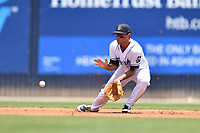 Asheville Tourists shortstop Coco Montes (5) fields the ball during a game against the Lakewood BlueClaws at McCormick Field on June 16, 2019 in Asheville, North Carolina. The BlueClaws defeated the Tourists 6-5. (Tony Farlow/Four Seam Images)