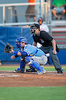 Burlington Royals catcher Chase Livingston (29) sets a target as home plate umpire Zach Neff looks on during the game against the Danville Braves at American Legion Post 325 Field on August 16, 2016 in Danville, Virginia.  The game was suspended due to a power outage with the Royals leading the Braves 4-1.  (Brian Westerholt/Four Seam Images)