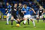 St Johnstone v Hamilton Accies…10.11.18…   McDiarmid Park    SPFL<br />David McMillan is blocked by Steven Boyd<br />Picture by Graeme Hart. <br />Copyright Perthshire Picture Agency<br />Tel: 01738 623350  Mobile: 07990 594431