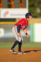 Jordan Edgerton (18) of the Danville Braves takes his lead off of second base against the Burlington Royals at Burlington Athletic Park on July 5, 2014 in Burlington, North Carolina.  The Royals defeated the Braves 5-4.  (Brian Westerholt/Four Seam Images)