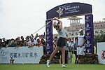 Paula Creamer tees off the 1st hole at the World Celebrity Pro-Am 2016 Mission Hills China Golf Tournament on 21 October 2016, in Haikou, China. Photo by Weixiang Lim / Power Sport Images