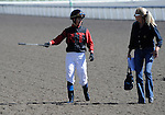 09 September 19: Jockey Chantal Sutherland tries to explain to trainer Barbara Pirie what happened after she pulled up her mount Poachers Moon in the 2nd race at Woodbine Racetrack in Rexdale, Ontario.