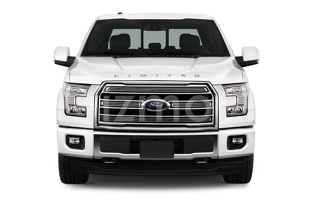 Car photography straight front view of a 2017 Ford F-150 Limited-SuperCrew 4 Door Pickup Front View