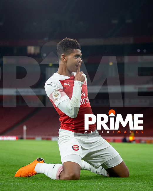 Tyreece John-Jules of Arsenal celebrates his goal during the Premier League 2 match between Arsenal U23 and Tottenham Hotspur U23 at the Emirates Stadium, London, England on 31 August 2018. Photo by Andy Rowland.