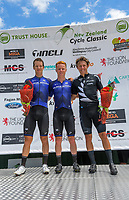 Podium winners, from left: Aaron Gate (Black Spoke, 3rd), Luke Mudgway (Black Spoke, 1st) and Corbin Strong (NZ National team, 2nd). Masterton-Alfredton road circuit - Stage Two of 2021 NZ Cycle Classic UCI Oceania Tour in Wairarapa, New Zealand on Wednesday, 13 January 2021. Photo: Dave Lintott / lintottphoto.co.nz