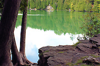 View from the shoreline of Crawford Lake, a rare meromictic lake on top of the Niagara Escarpment in Ontario Canada