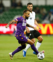 23rd May 2021; HBF Park, Perth, Western Australia, Australia; A League Football, Perth Glory versus Macarthur; Diego Castro of Perth Glory cuts outside on the ball on an attacking break