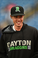 Dayton Dragons pitcher Nick Routt (25) walks to the dugout before a game against the Lake County Captains on June 8, 2014 at Classic Park in Eastlake, Ohio.  Lake County defeated Dayton 4-2.  (Mike Janes/Four Seam Images)