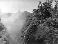 Young Hawaiian girl in the forest near a steam vent, Hawaii Volcanos National Park.