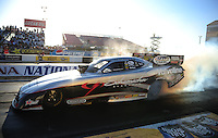 Feb. 17 2012; Chandler, AZ, USA; NHRA funny car driver Jack Beckman during qualifying for the Arizona Nationals at Firebird International Raceway. Mandatory Credit: Mark J. Rebilas-