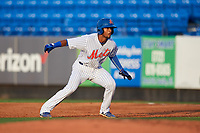 St. Lucie Mets second baseman Luis Carpio (11) leads off first base during the first game of a doubleheader against the Charlotte Stone Crabs on April 24, 2018 at First Data Field in Port St. Lucie, Florida.  St. Lucie defeated Charlotte 5-3.  (Mike Janes/Four Seam Images)
