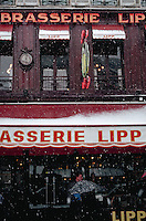 Brasserie Lipp during snowstorm, Paris, France