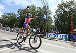 Jake Yackle, of Reno, wins the Epic Rides Carson City Off-Road 50-mile amateur race in Carson City, Nev., on Saturday, June 18, 2016.<br />