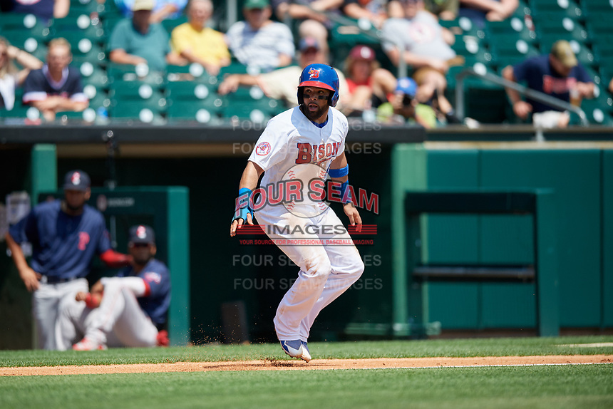 Buffalo Bisons catcher Michael De La Cruz (43) leads off third base during a game against the Pawtucket Red Sox on June 28, 2018 at Coca-Cola Field in Buffalo, New York.  Buffalo defeated Pawtucket 8-1.  (Mike Janes/Four Seam Images)