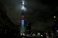 24th August 2020, Tokyo, Japan;  Tokyo Skytree is illuminated with the Paralympic symbol colours to mark one-year-to-go until the start of the postponed Tokyo 2020 Paralympic Games in Tokyo