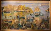 France, Bretagne, (29), Finistère, Brest:  Musée National de la Marine - Château de Brest  Brest en septembre 1790 par Pierre Péron , le port et le château