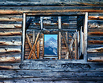 window to Wilson Peak at historic ghost town of Alta near Telluride, Rocky Mountains, Colorado, USA
