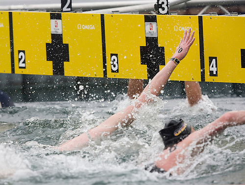 21 AUG 2008 - BEIJING, CHN - David Davies (GBR) (number 10) touches to take silver - Mens 10km Open Water Swim - Beijing Olympics. (PHOTO (C) NIGEL FARROW) *** IOC RULES APPLY ON USAGE ***