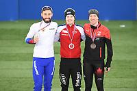 SPEED SKATING: HAMAR: Viking Skipet, 01-02-2019, ISU World Cup Speed Skating, Podium 5000m Men Division A, Alexander Rumyantsev (RUS), Sverre Lunde Pedersen (NOR), Ted-Jan Bloemen (CAN), ©photo Martin de Jong