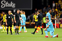 25th September 2021; Vicarge Road, Watford, Herts,  England;  Premier League football, Watford versus Newcastle; A dejected Javi Manquillo of Newcastle United after the 1-1 draw