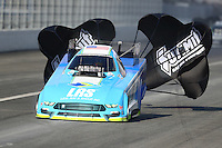 Feb 11, 2017; Pomona, CA, USA; NHRA funny car driver Tim Wilkerson during qualifying for the Winternationals at Auto Club Raceway at Pomona. Mandatory Credit: Mark J. Rebilas-USA TODAY Sports
