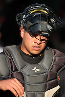 San Jose Giants catcher Jesus Navarro #37 before a game against the Inland Empire 66'ers at Arrowhead Credit Union Park on July 31, 2011 in San Bernardino,California. San Jose defeated Inland Empire 6-3.(Larry Goren/Four Seam Images)