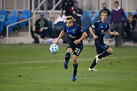 SAN JOSE, CA - OCTOBER 07: Tommy Thompson #22 of San Jose Earthquakes kicks the ball during a game between Vancouver Whitecaps and San Jose Earthquakes at Earthquakes Stadium on October 07, 2020 in San Jose, California.