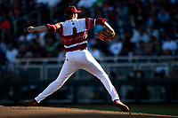 Louisville Cardinals pitcher Nick Bennett (8) delivers a pitch to the plate during Game 10 of the NCAA College World Series against the Mississippi State Bulldogs on June 20, 2019 at TD Ameritrade Park in Omaha, Nebraska. Louisville defeated Mississippi State 4-3. (Andrew Woolley/Four Seam Images)