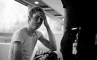 Bjorn Thurau (DEU/Wanty-Groupe Gobert) barely survived the day; he was completely exhausted as he entered the teambus and needed help getting out of his clothes<br /> <br /> 102nd Liège-Bastogne-Liège 2016