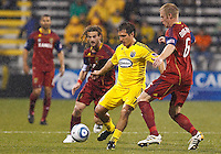 24 APRIL 2010:  Real Salt Lakes' Kyle Beckerman (5), Guillermo Barros Schelotto of the Columbus Crew (7) and Real Salt Lakes' Nat Borchers (6) during the Real Salt Lake at Columbus Crew MLS soccer game in Columbus, Ohio. Columbus Crew defeated RSL 1-0 on April 24, 2010.