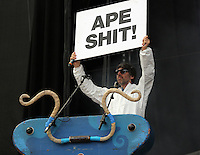 Pictured: Gruff Rhys of the Super Furry Animals with an 'Ape Shit' placard Saturday May 2016<br /> Re: Manic Street Preachers at the Liberty Stadium, Swansea, Wales, UK